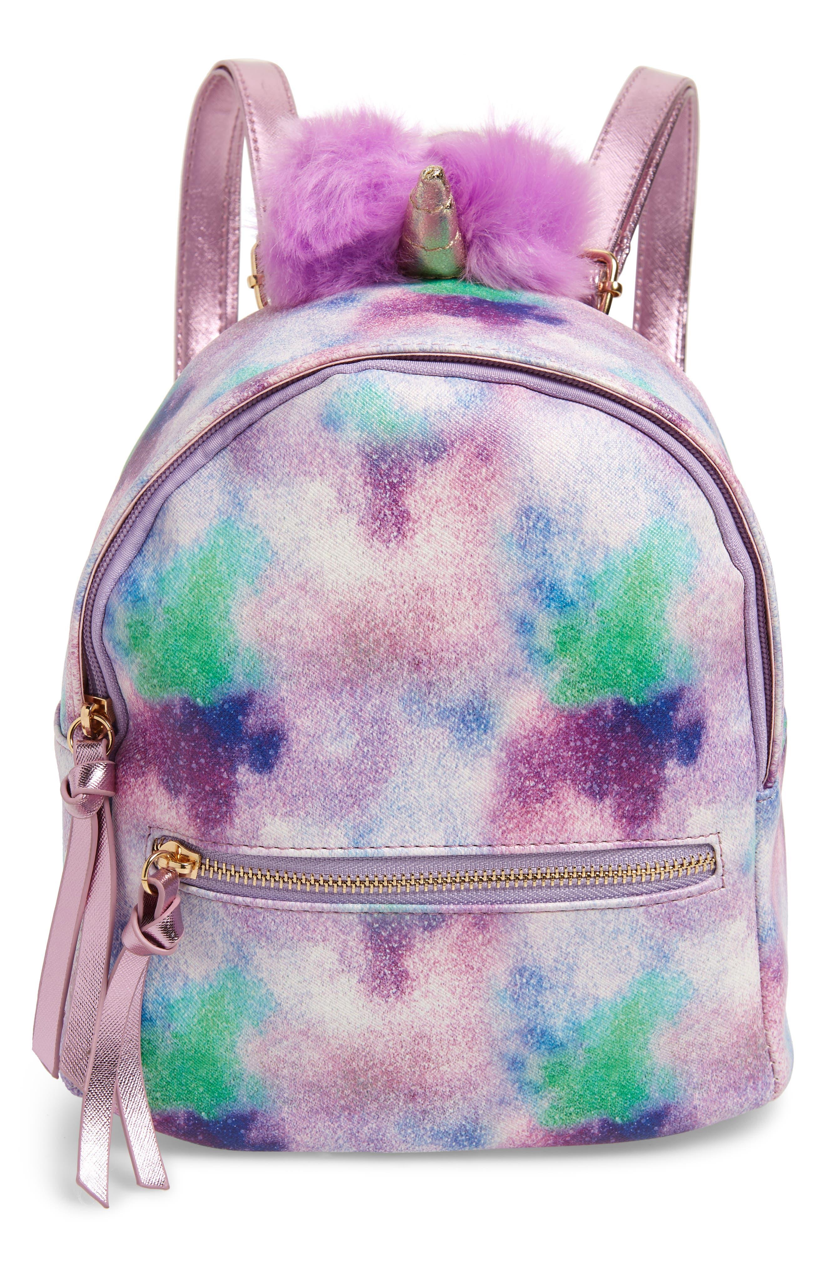 Girls Under One Sky Faux Fur Pompom Unicorn Backpack  Purple