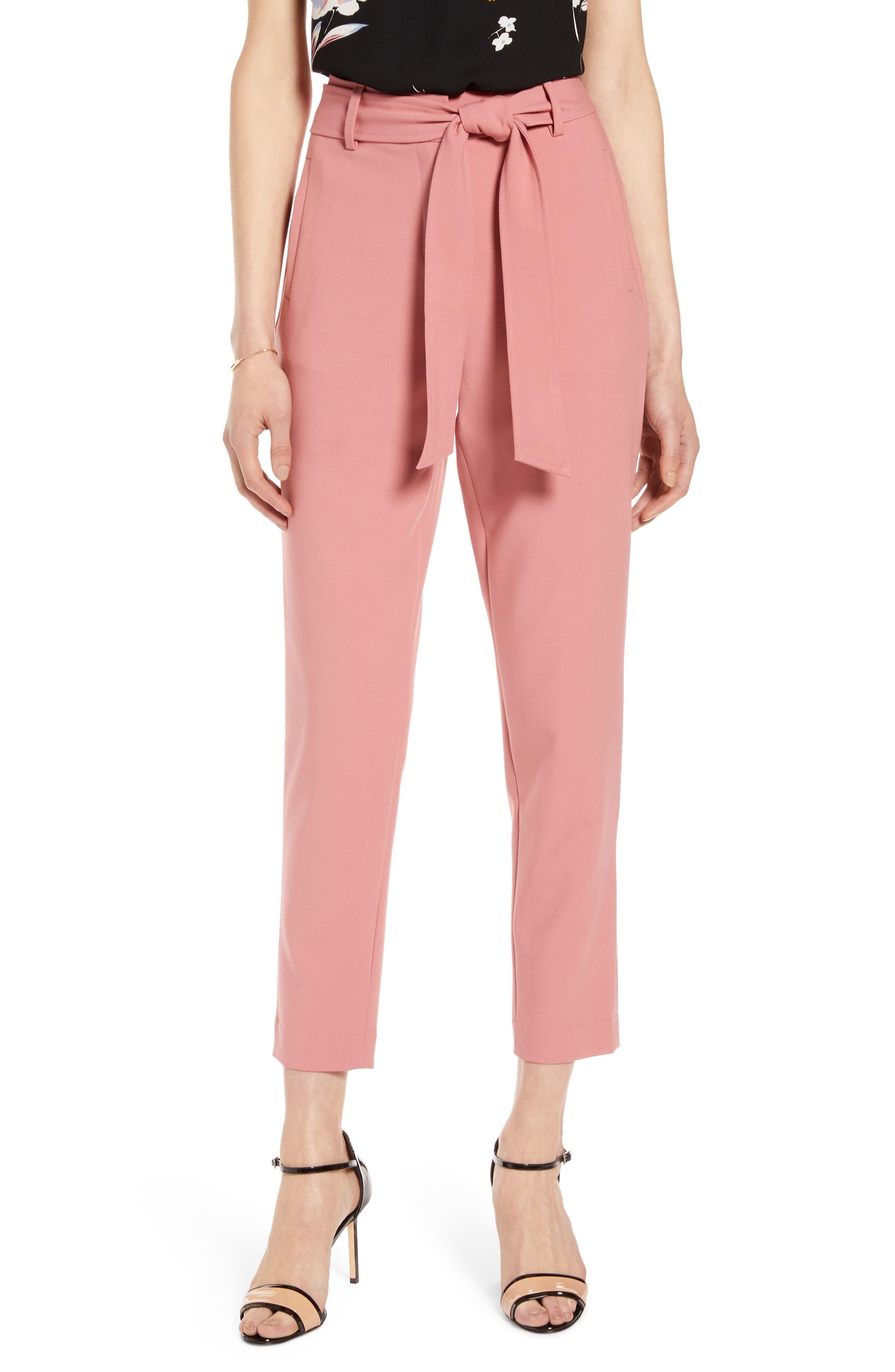 Halogen® Tie Waist Twill Pants (Regular & Petite)
