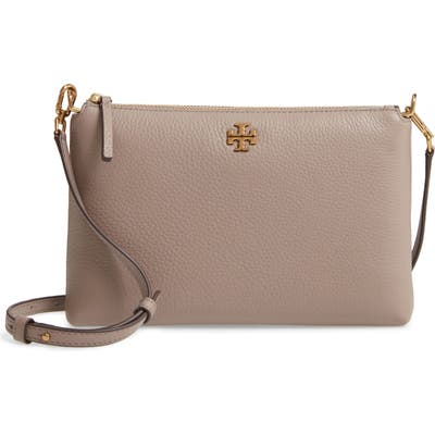 Tory Burch Kira Pebbled Leather Wallet Crossbody Bag - Grey