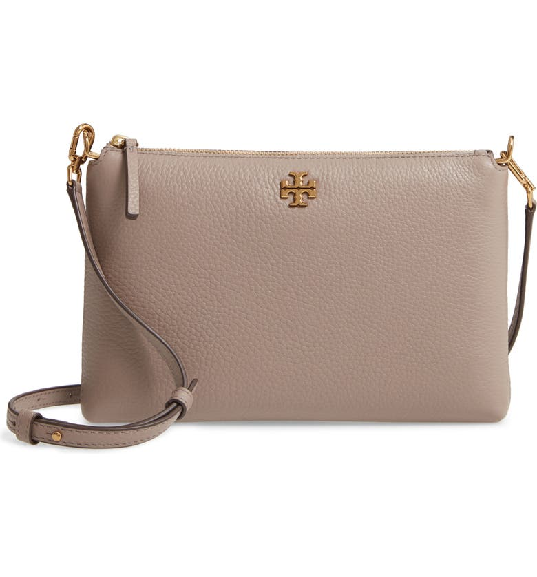 TORY BURCH Kira Pebbled Leather Wallet Crossbody Bag, Main, color, GRAY HERON