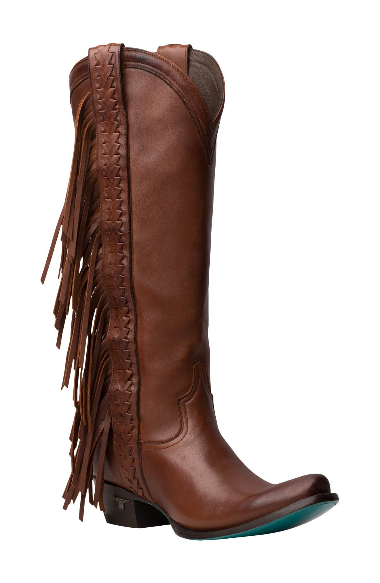 Lane\\\'s trademark fringe details the outside of this knee-high Western boot-but only when you\\\'re in the mood, thanks to a clever, removable design. A flash of burnished turquoise comes with every step in this classic-made-contemporary boot. Style Name: Lane Boots Katori Fringe Shaft Knee High Western Boot (Women). Style Number: 6098918. Available in stores.