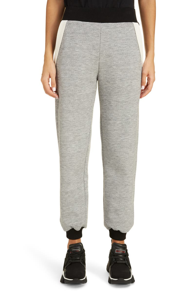 GIVENCHY Colorblock Crop Jogger Pants, Main, color, HEATHER GRAY