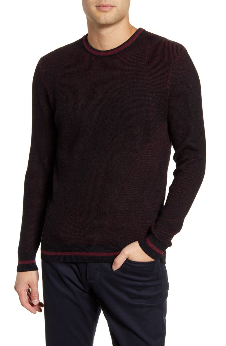 VINCE CAMUTO Slim Fit Tipped Crewneck Sweater, Main, color, PORT BLACK PLATED RIB
