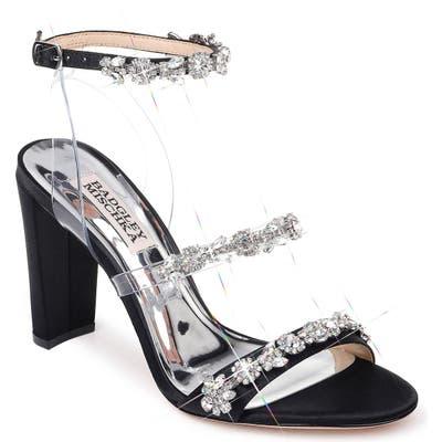 Badgley Mischka Adel Crystal Embellished Ankle Strap Sandal, Black