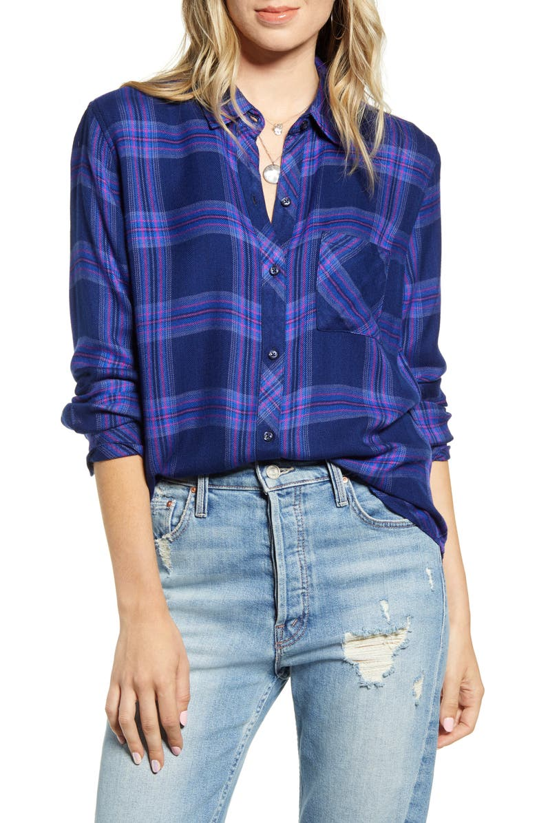 RAILS Hunter Plaid Shirt, Main, color, ULTRAVIOLET PINK