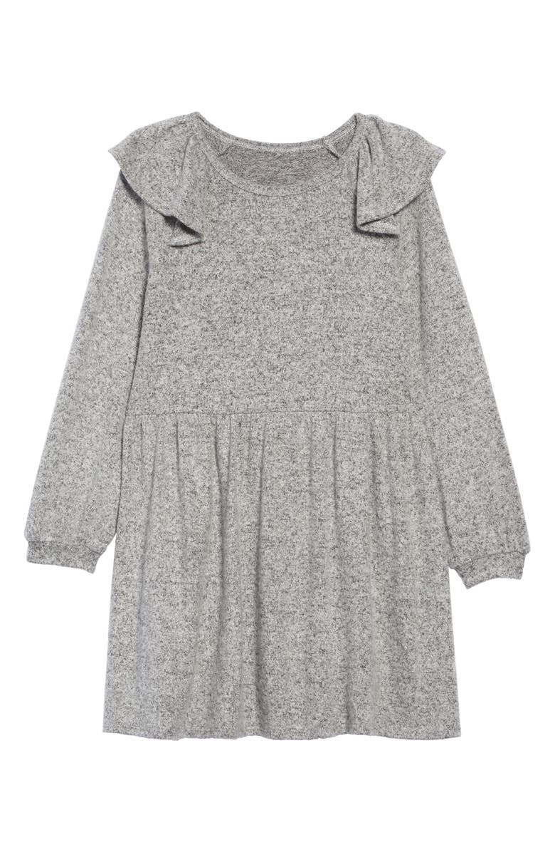 TUCKER + TATE Ruffle Shoulder Knit Dress, Main, color, GREY ASH HEATHER
