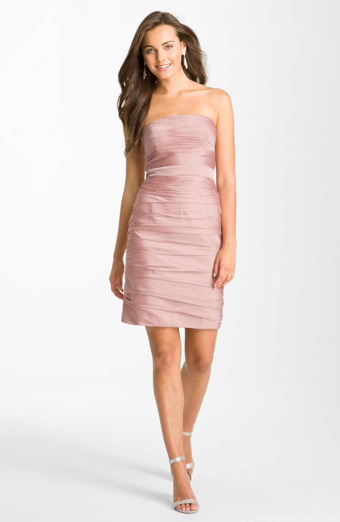 ,                             Ruched Strapless Cationic Chiffon Dress,                             Alternate thumbnail 70, color,                             697