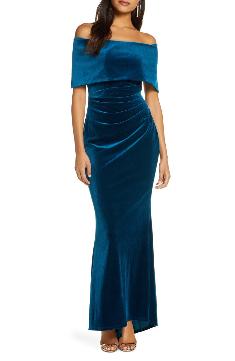 VINCE CAMUTO Off the Shoulder Velvet Trumpet Gown, Main, color, PEACOCK
