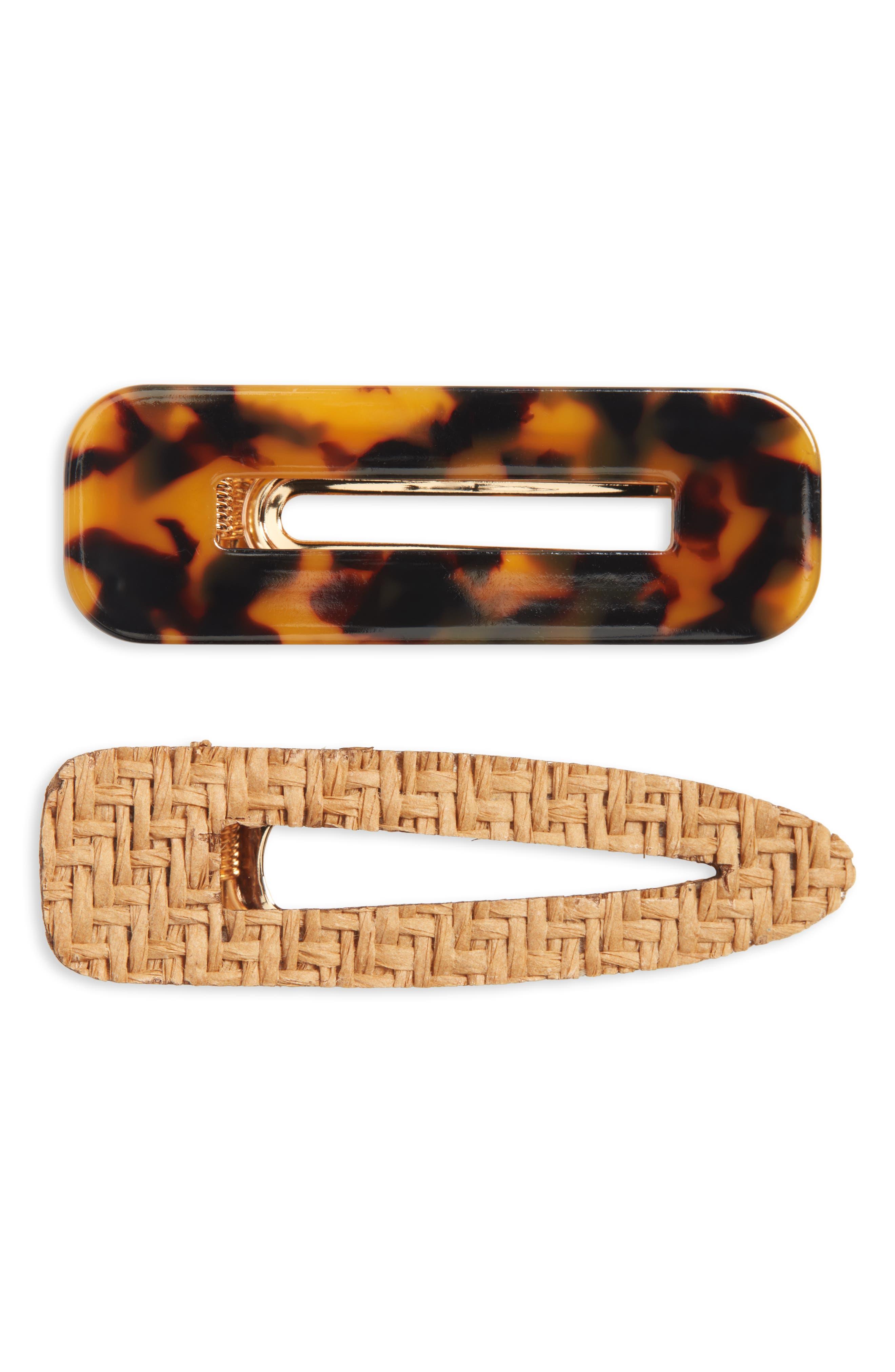 These two clips come in woven straw and tortoiseshell-pattern resin, so you can mix and match your look through the week. Style Name: Bp. 2-Pack Resin & Woven Hair Clips. Style Number: 6069272. Available in stores.