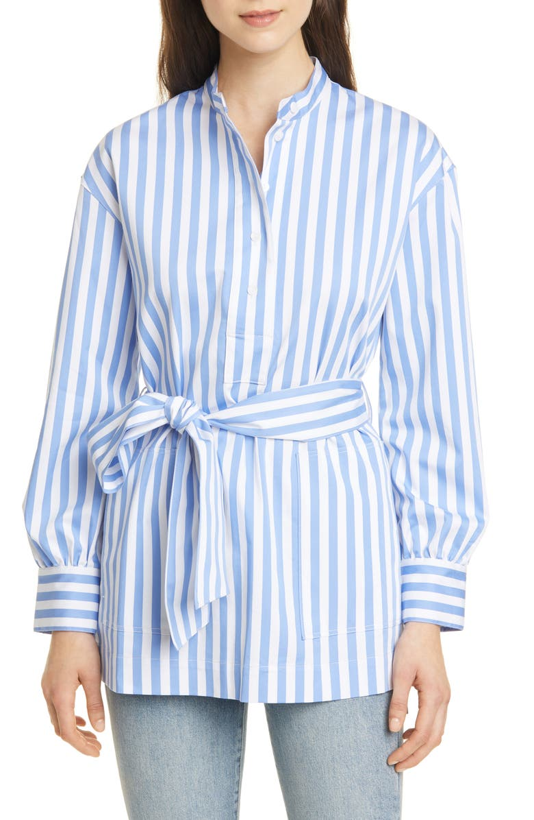 CLUB MONACO Half Placket Stripe Belted Tunic, Main, color, 100