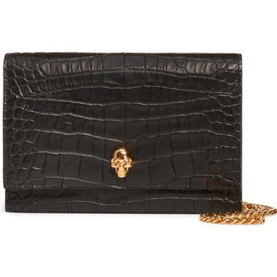 Alexander Mcqueen Mini Skull Croc Embossed Leather Shoulder Bag - Black