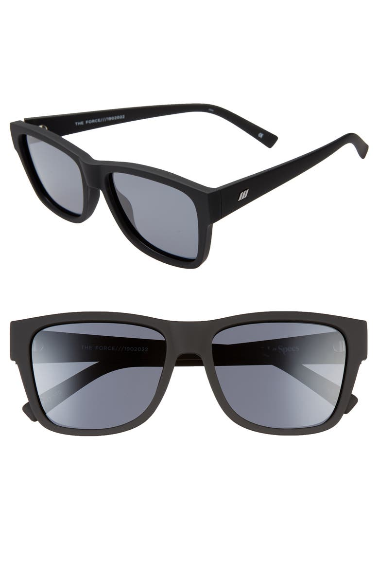 LE SPECS The Force 57mm Polarized Square Sunglasses, Main, color, BLACK RUBBER/ SMOKE