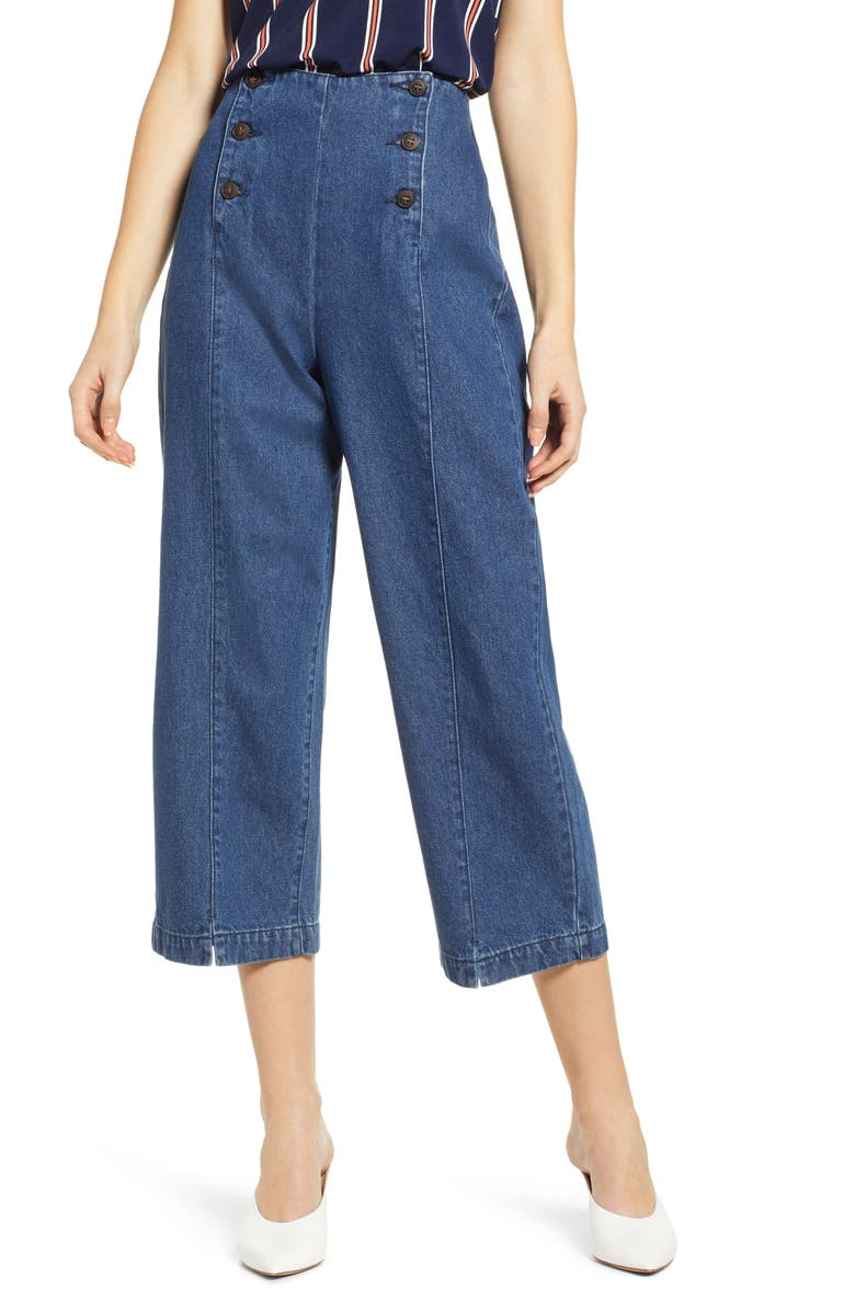 VERO MODA Flavia Sailor Culotte Pants, Main, color, 400