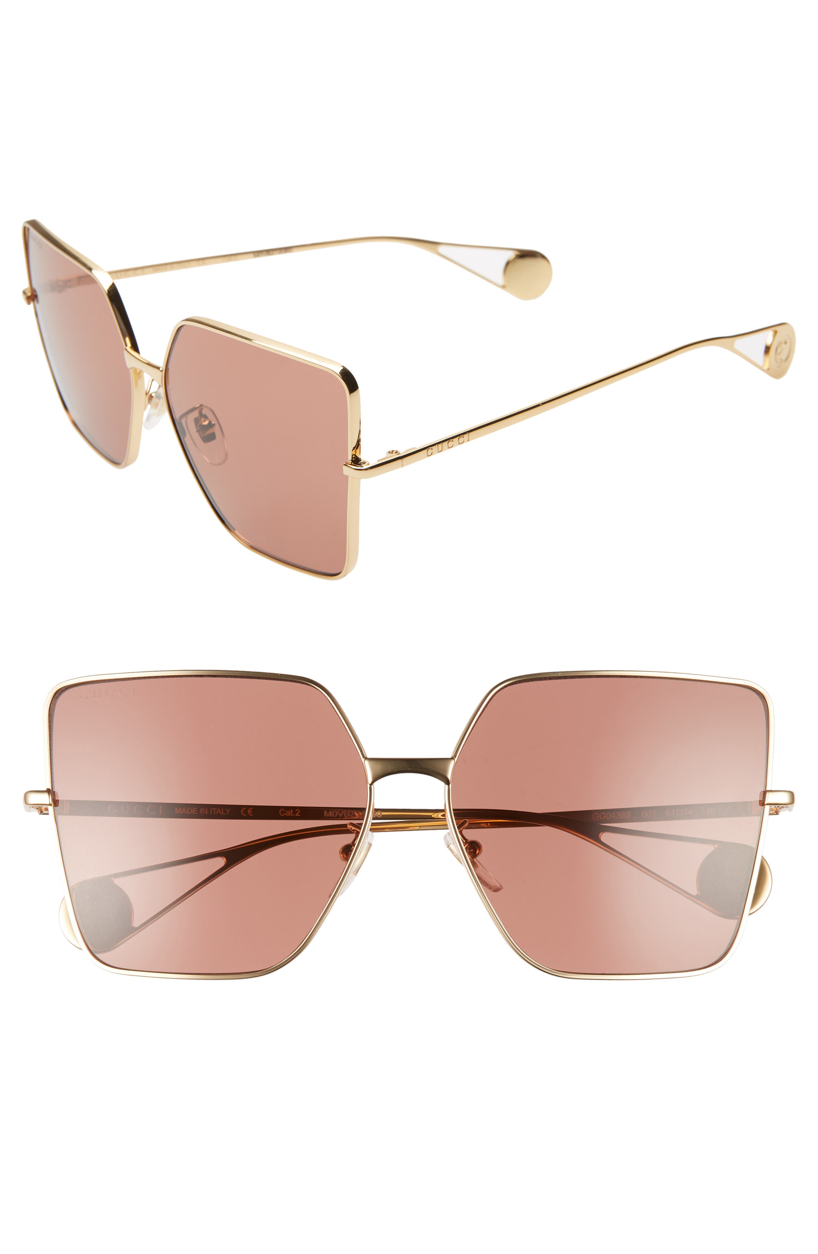 61mm Square Sunglasses, Main, color, GOLD/ RED BRICK