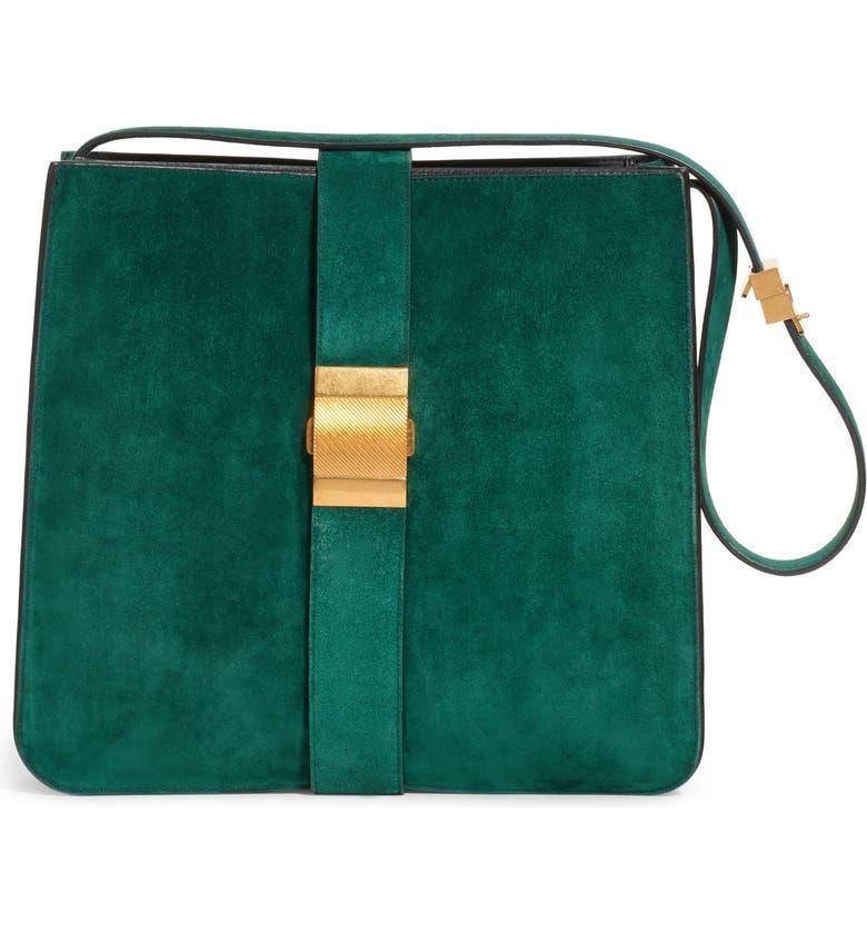 BOTTEGA VENETA Marie Suede Shoulder Bag, Main, color, EMERALD