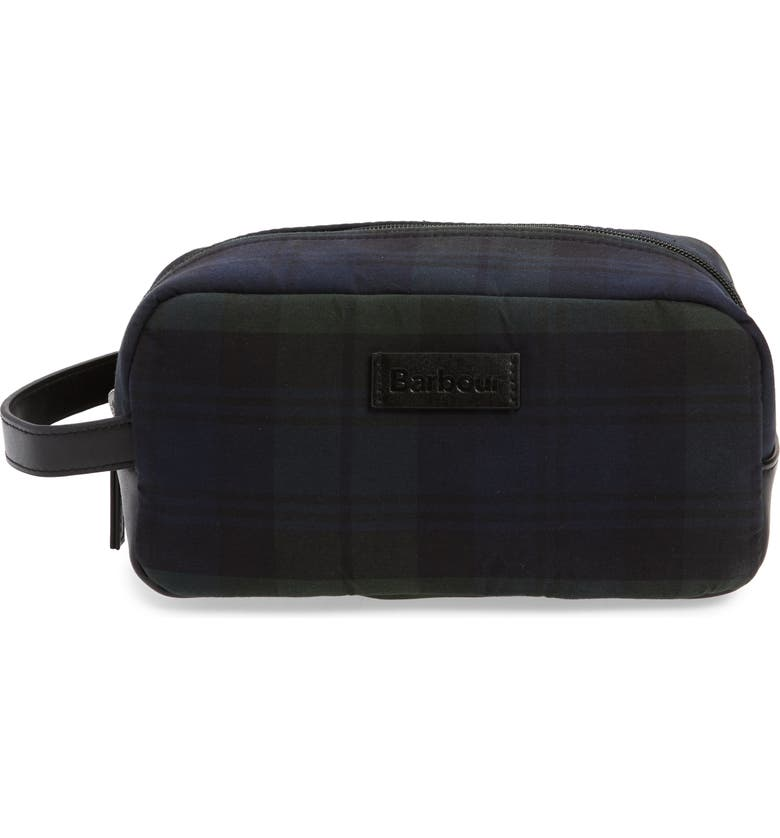 BARBOUR Tartan Waxed Cotton Dopp Kit, Main, color, BLACK WATCH