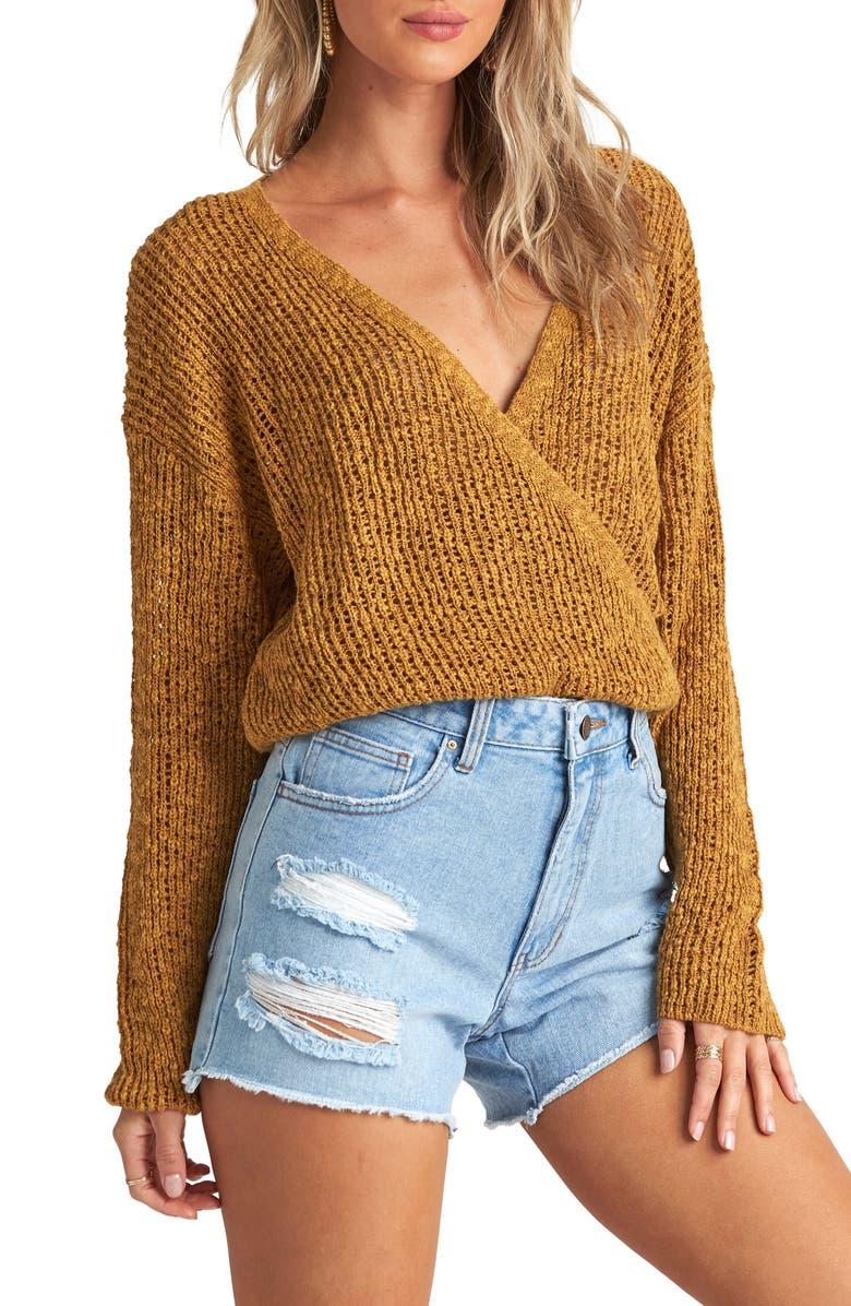 BILLABONG Sweet Bliss Wrap Front Sweater, Main, color, MOSS LANDING