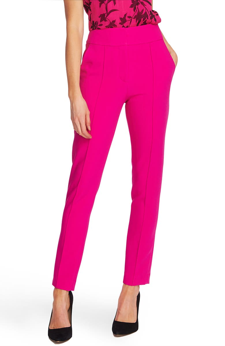 VINCE CAMUTO Center Seam Stretch Crepe Skinny Trousers, Main, color, PINK SHOCK