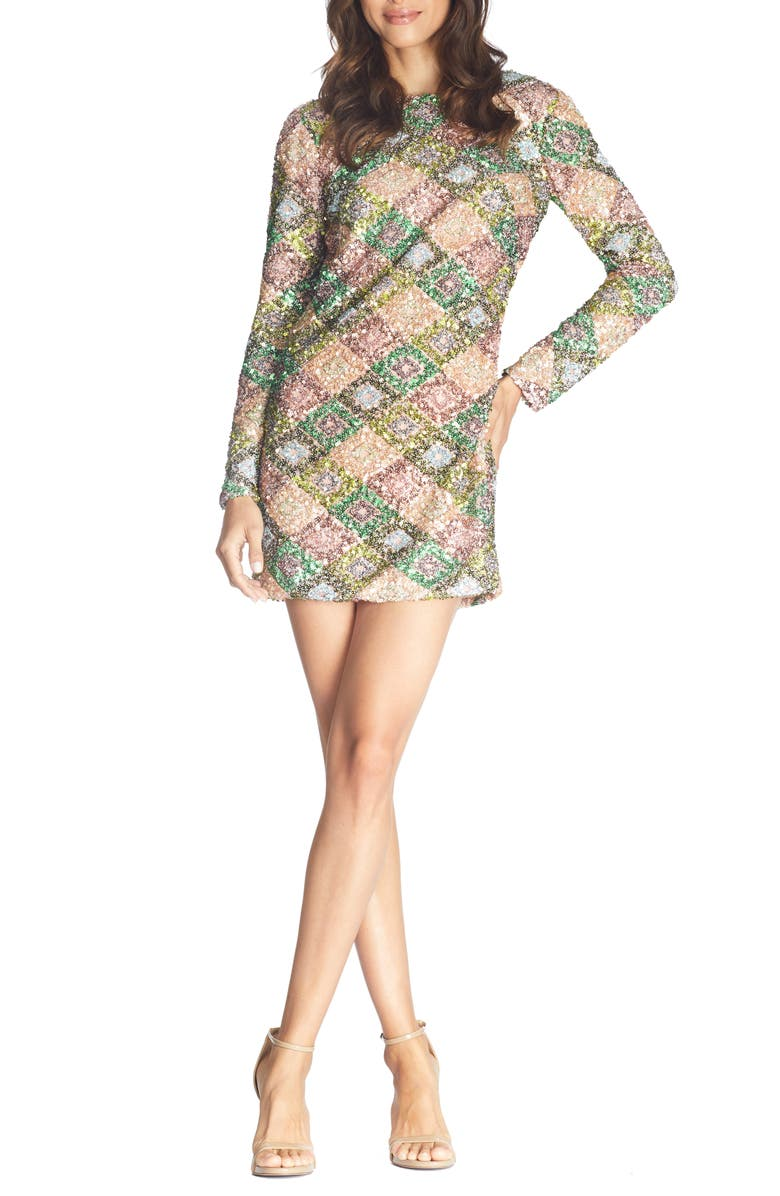 DRESS THE POPULATION Kensie Patchwork Sequin Long Sleeve Minidress, Main, color, NUDE-ELM PATCHWORK
