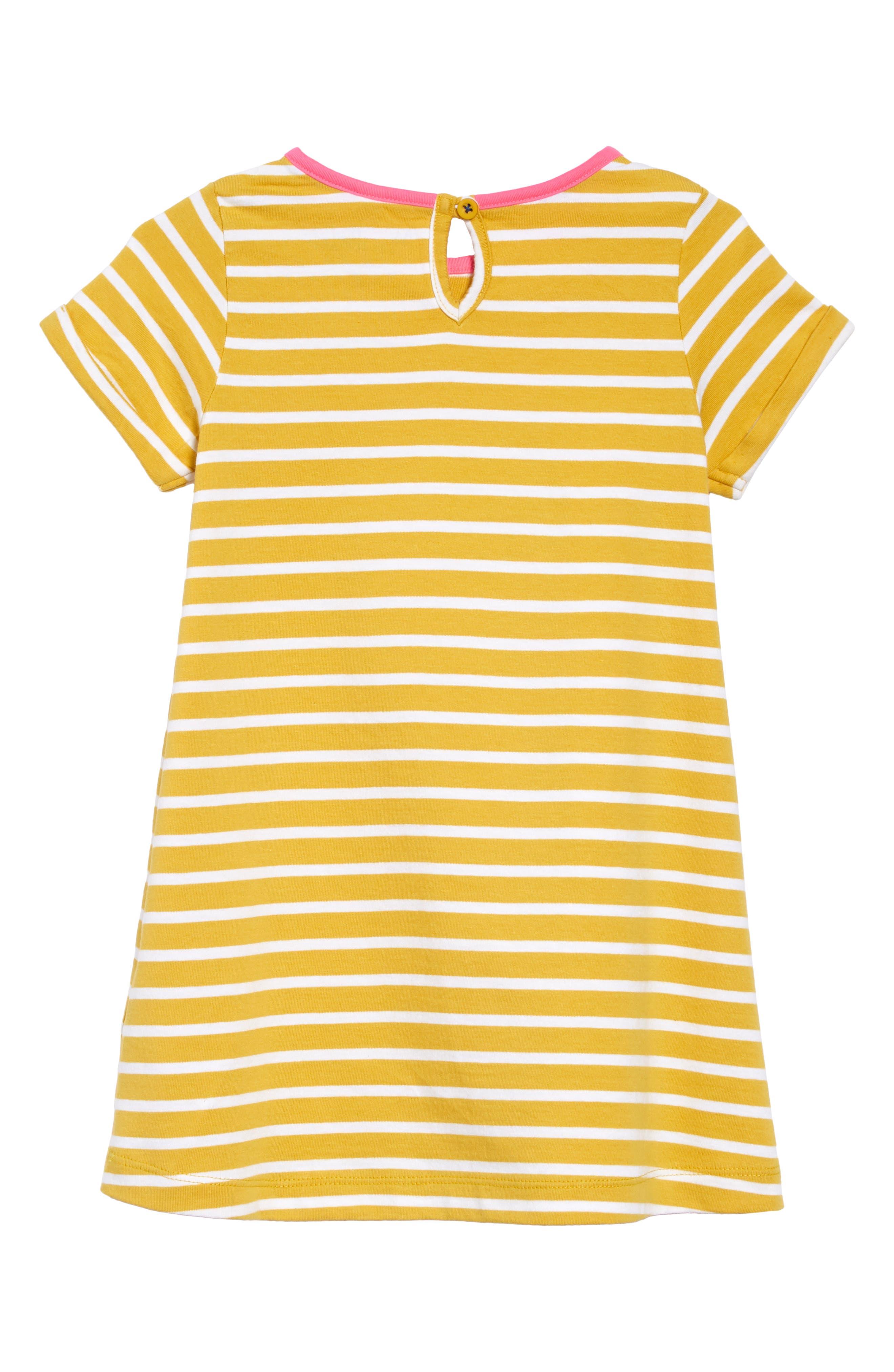 ,                             Appliqué Dress,                             Alternate thumbnail 2, color,                             MIMOSA YELLOW STRIPE/ SLOTH