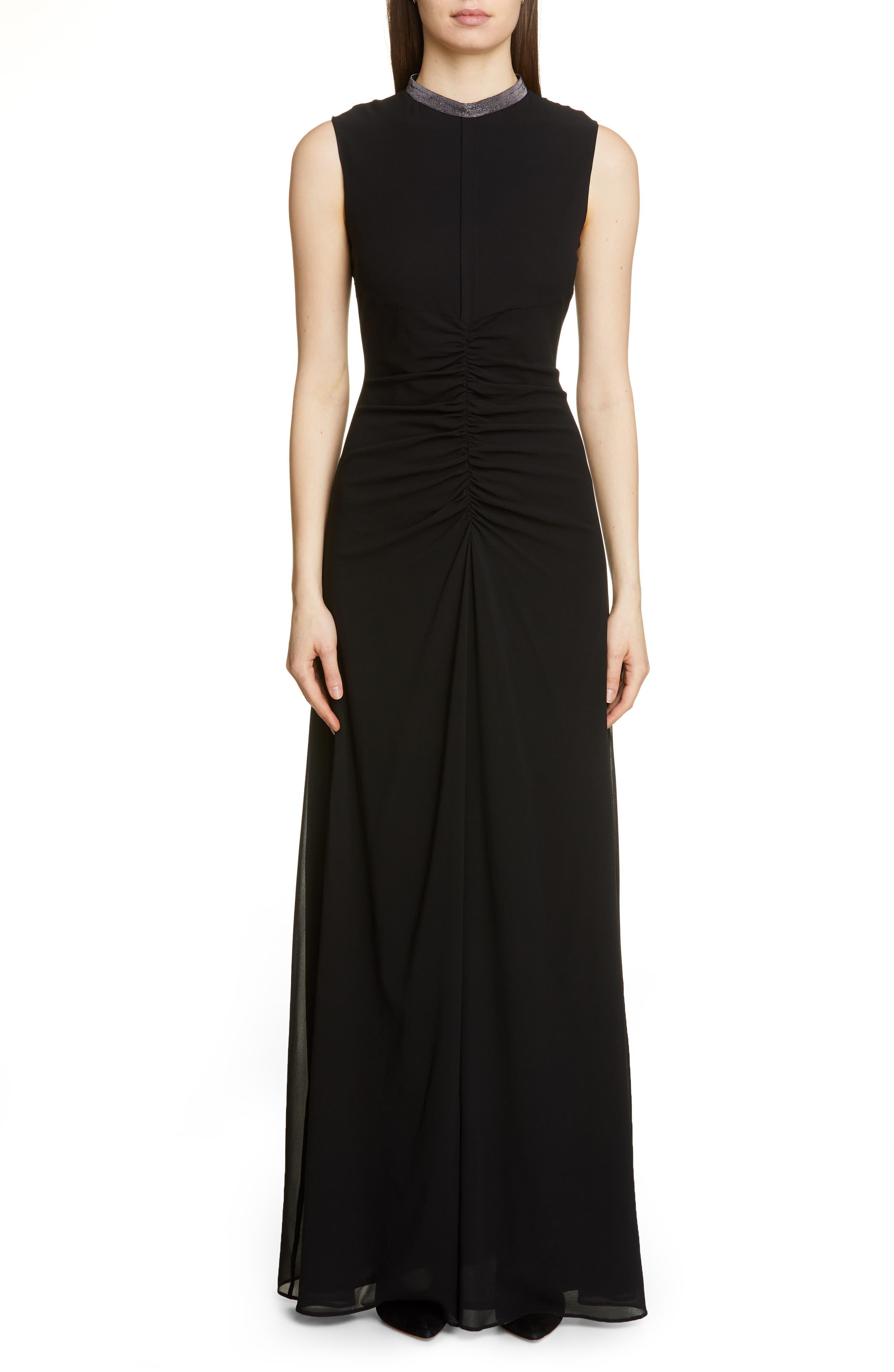 Fabiana Filippi Embellished Neck Sleeveless Silk Chiffon Gown, US / 40 IT - Black