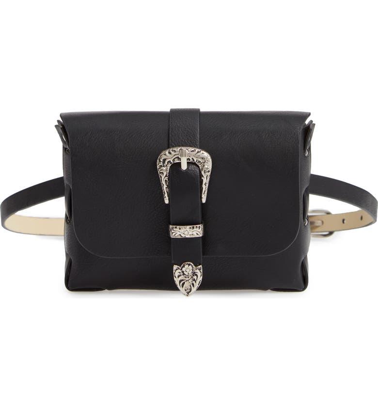 TREASURE & BOND Western Buckle Faux Leather Belt Bag, Main, color, 001