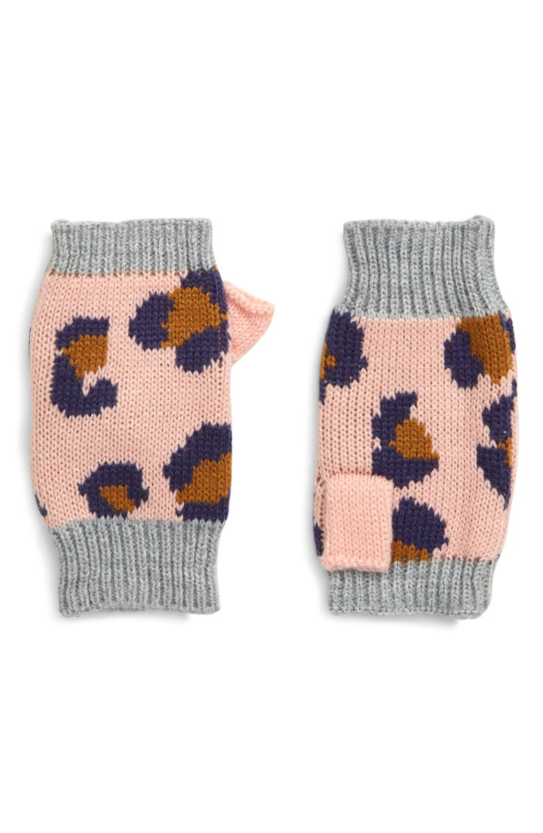 MINI BODEN Leopard Fingerless Gloves, Main, color, CHALKY PINK LEOPARD