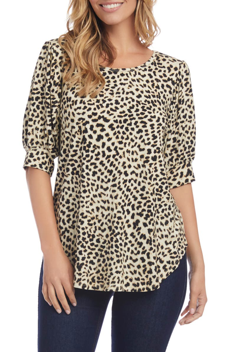 KAREN KANE Puff Sleeve Shirttail Top, Main, color, CHEETAH