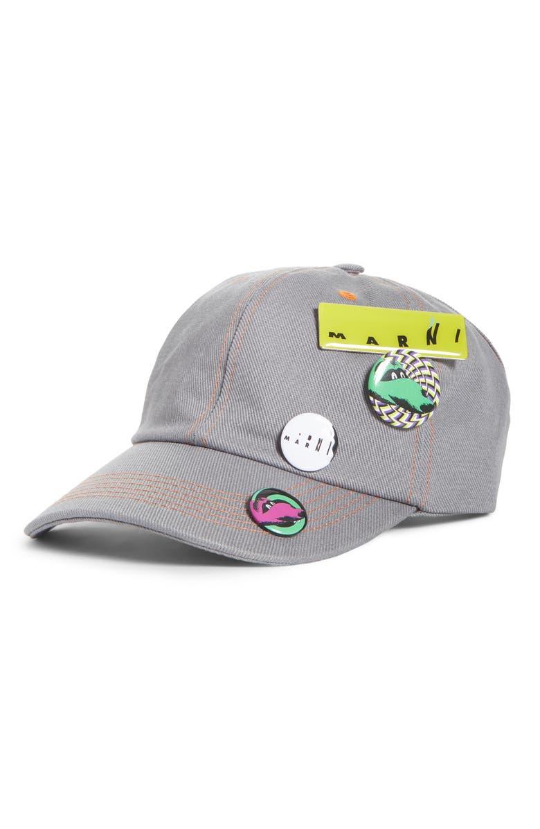 MARNI Button Drill Cap, Main, color, GREY