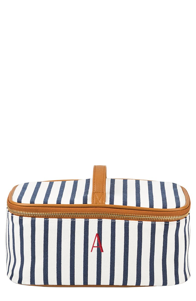 CATHY'S CONCEPTS Monogram Stripe Canvas Cosmetics Case, Main, color, BLUE A