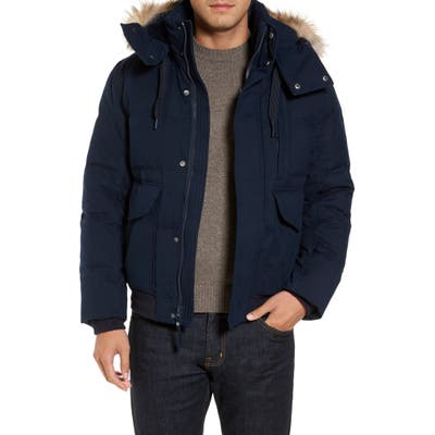 Marc New York Bohlen Down & Feather Bomber Jacket With Removable Genuine Coyote Fur Trim Hood, Blue