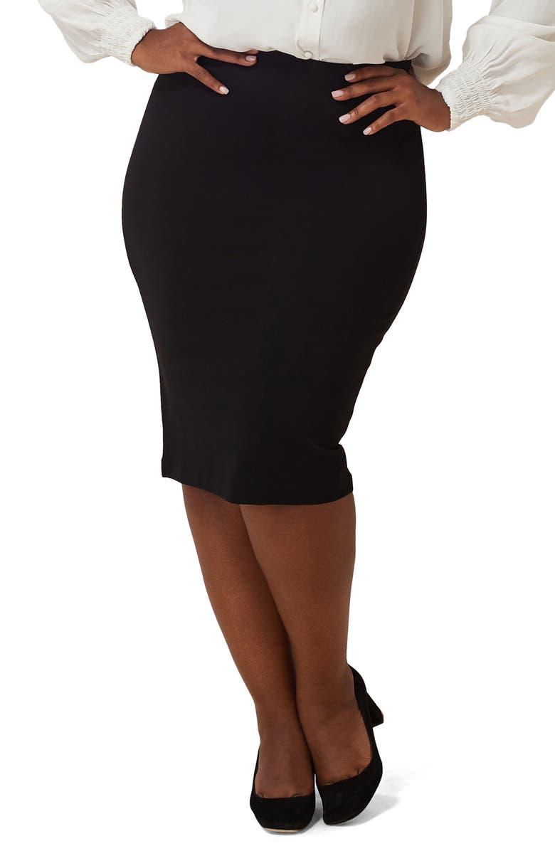 MARÉE POUR TOI Compression Knit Pencil Skirt, Main, color, BLACK