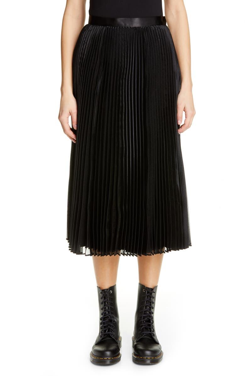 JUNYA WATANABE Pleated Satin Skirt, Main, color, 001