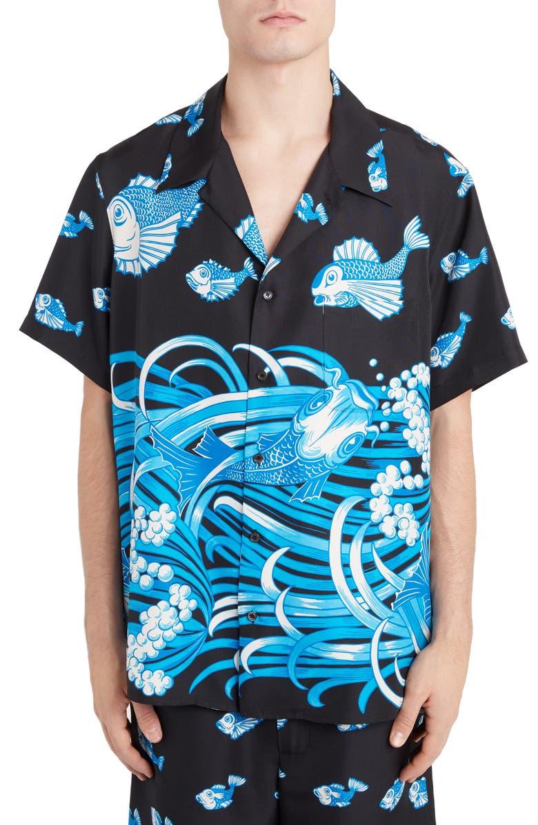 VALENTINO Koi Print Silk Camp Shirt, Main, color, BLACK/ BLUE