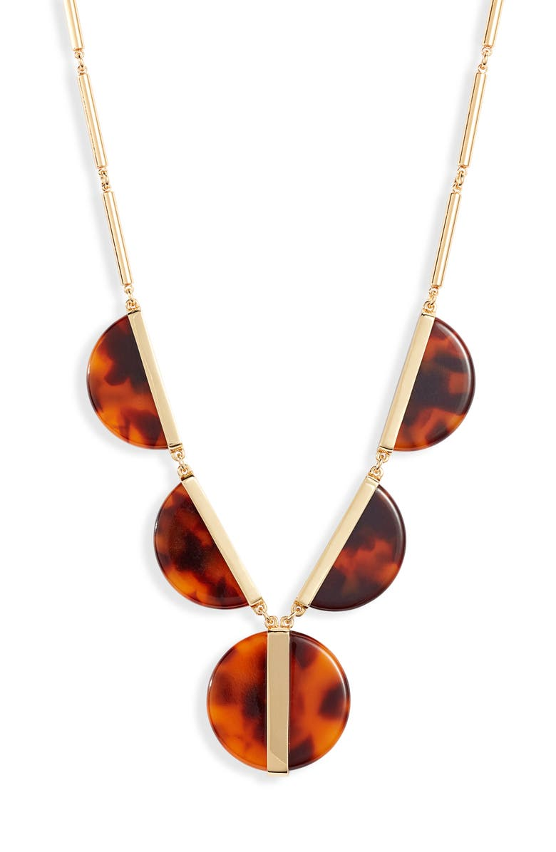 KATE SPADE NEW YORK on the dot statement necklace, Main, color, TORTOISE