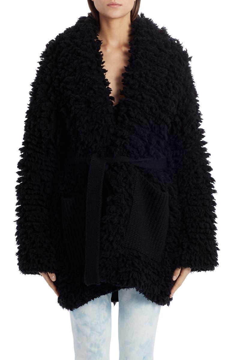 ALANUI Belted Knit Stitch Coat, Main, color, 001