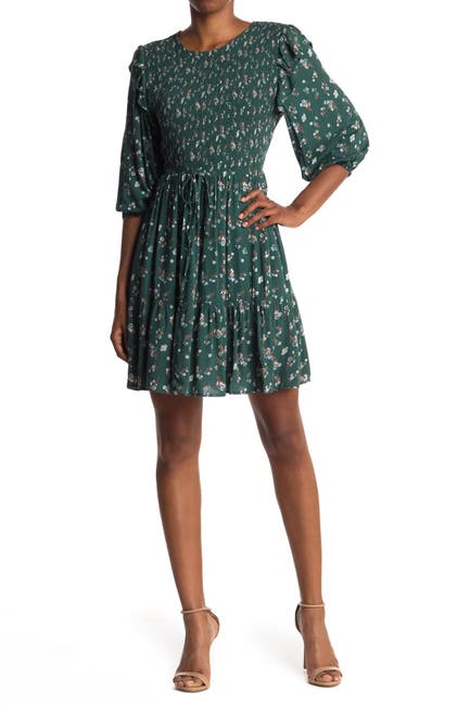 Image of Angie Floral Smocked 3/4 Sleeve Dress