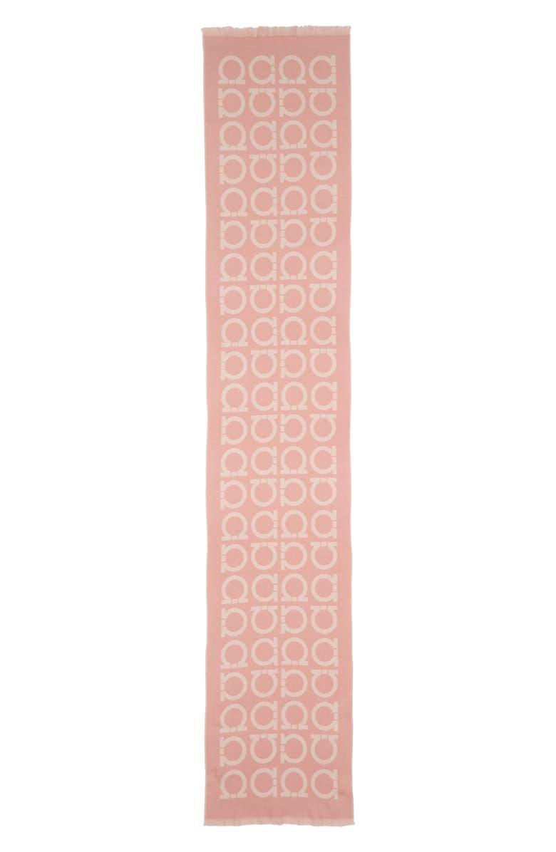 SALVATORE FERRAGAMO Issacca Logo Wool Scarf, Main, color, ROSA/ BEIGE