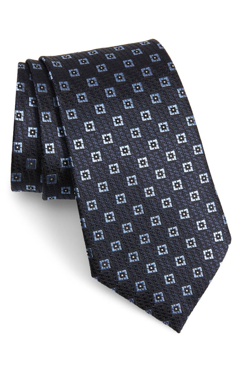 ERMENEGILDO ZEGNA Medallion Silk Tie, Main, color, NAVY FAN