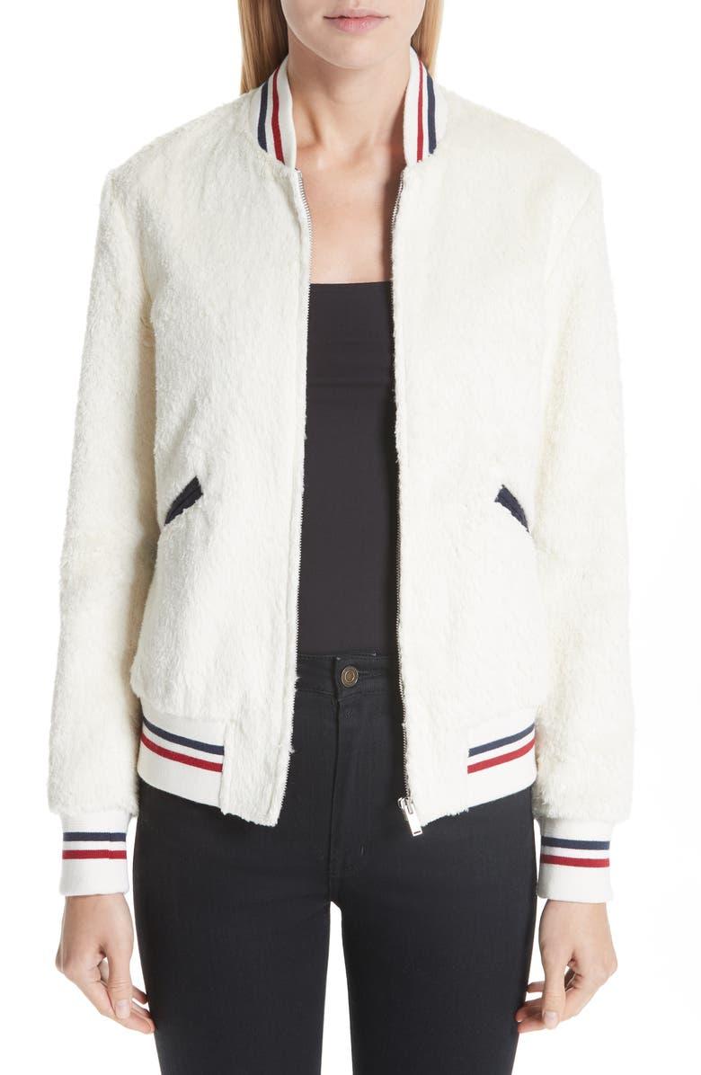 SAINT LAURENT Teddy Faux Fur Bomber Jacket, Main, color, 100