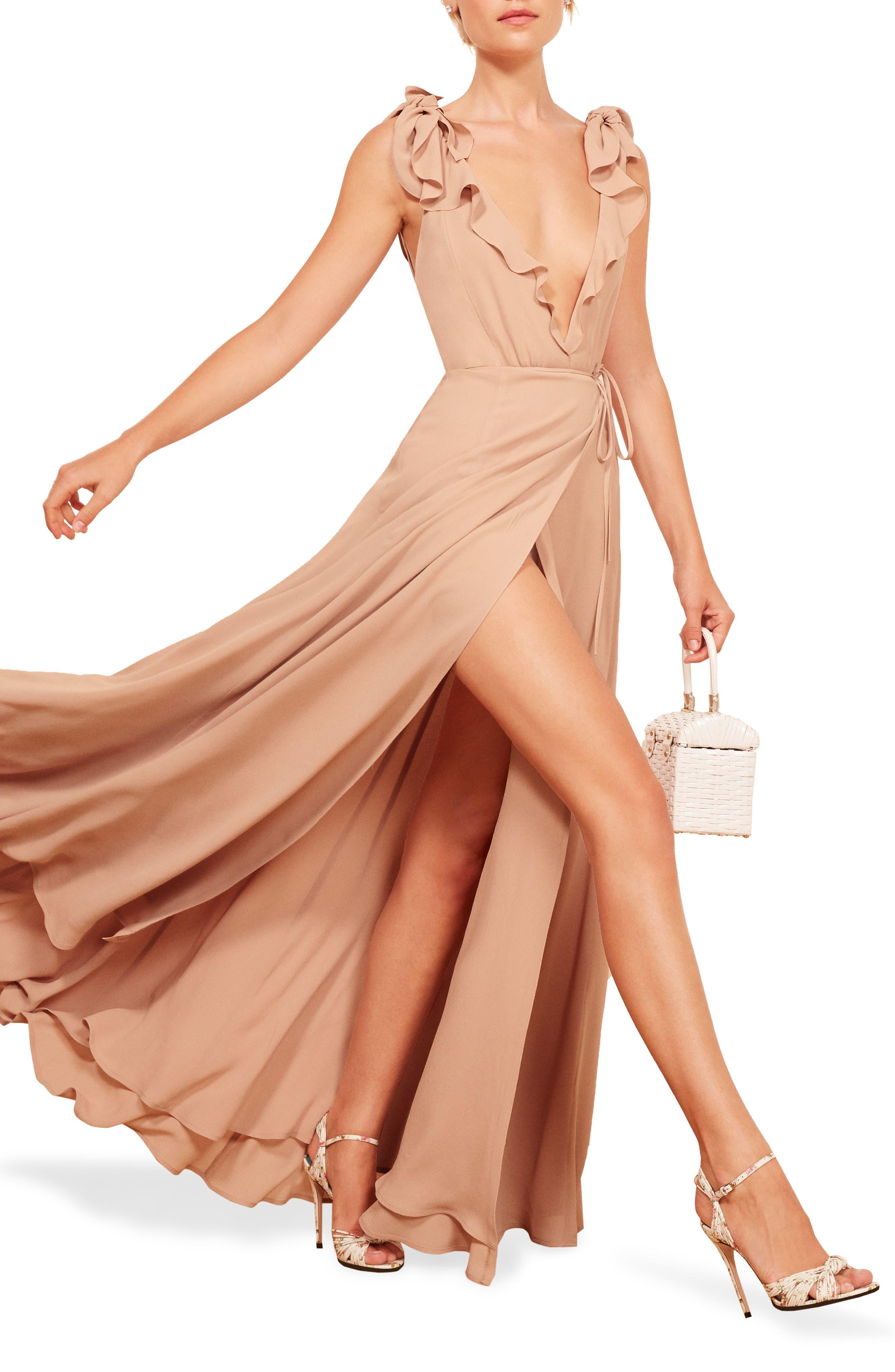 Reformation Peppermint Ruffle Wrap Maxi Dress, Beige