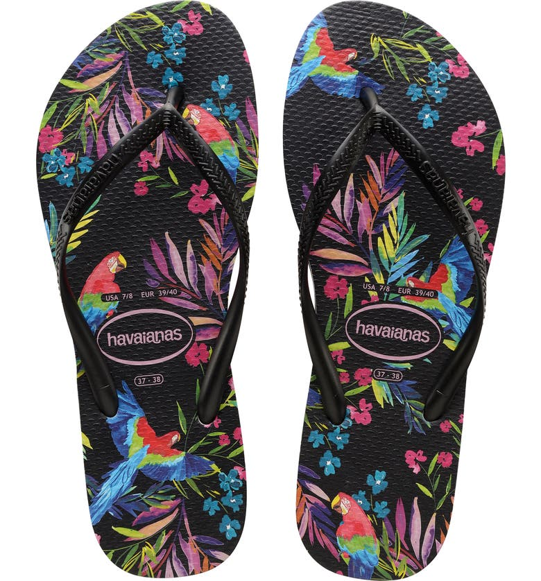 HAVAIANAS Slim Tropical Floral Flip Flop, Main, color, BLACK/ BLACK