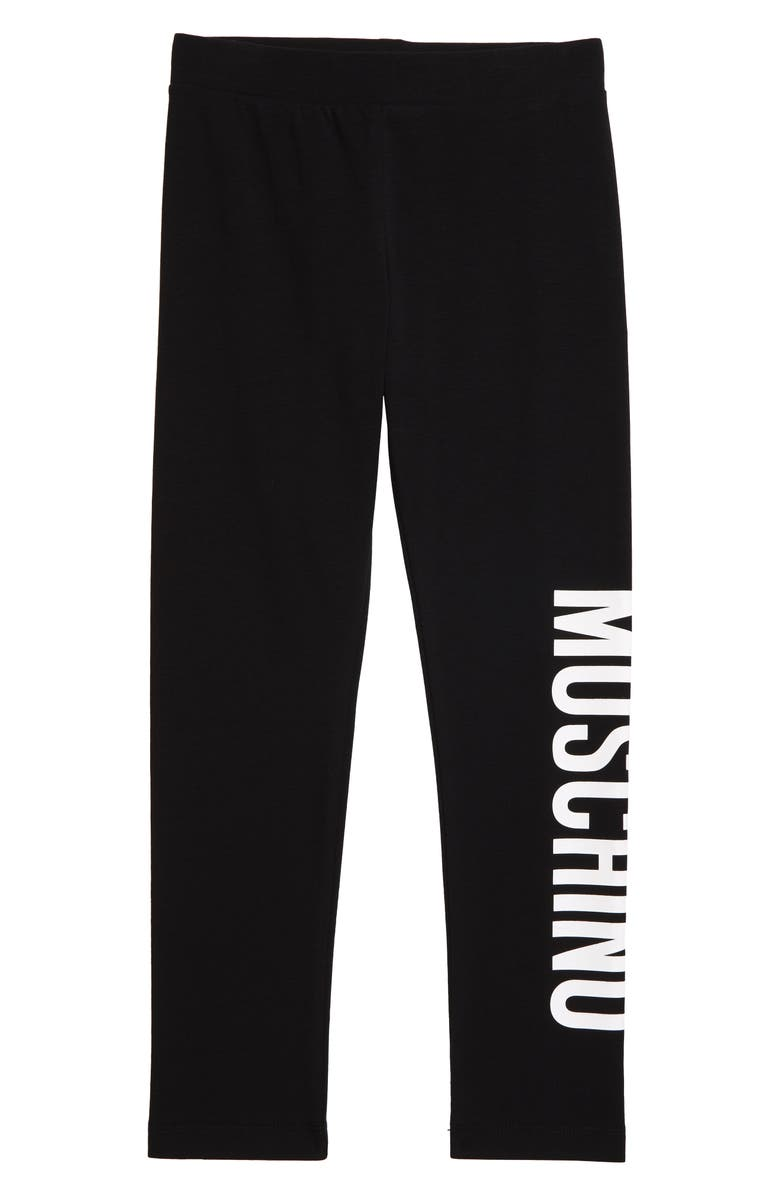 MOSCHINO Logo Graphic Leggings, Main, color, BLACK