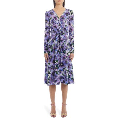 Dolce & gabbana Floral Long Sleeve Silk Crepe Dress, US / 40 IT - Purple