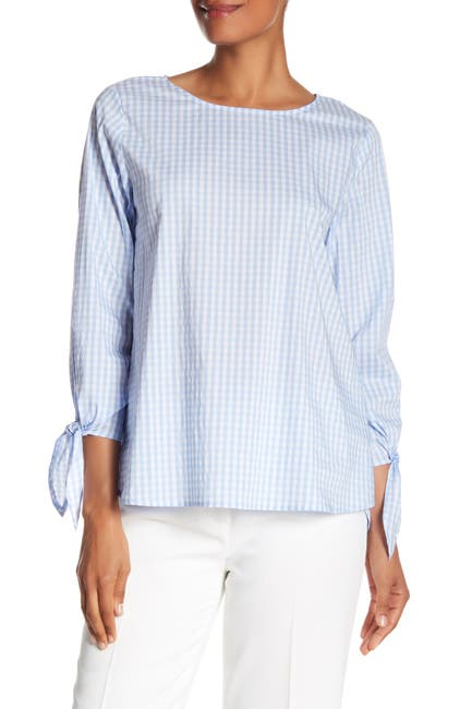 Image of Vince Camuto Gingham Tie Sleeve Blouse