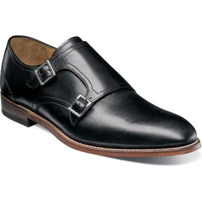 Stacy Adams M2 Plain Toe Double Strap Monk Shoe, Black