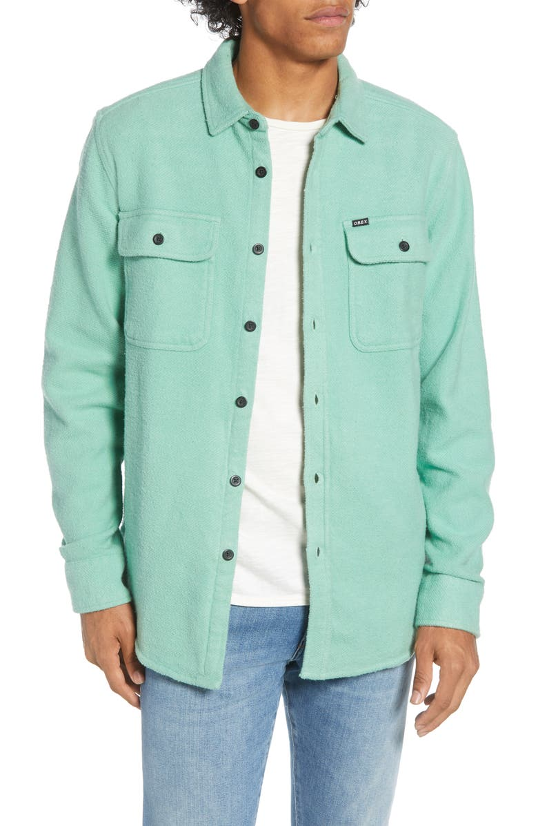 OBEY Outpost Button-Up Chunky Flannel Shirt, Main, color, 315