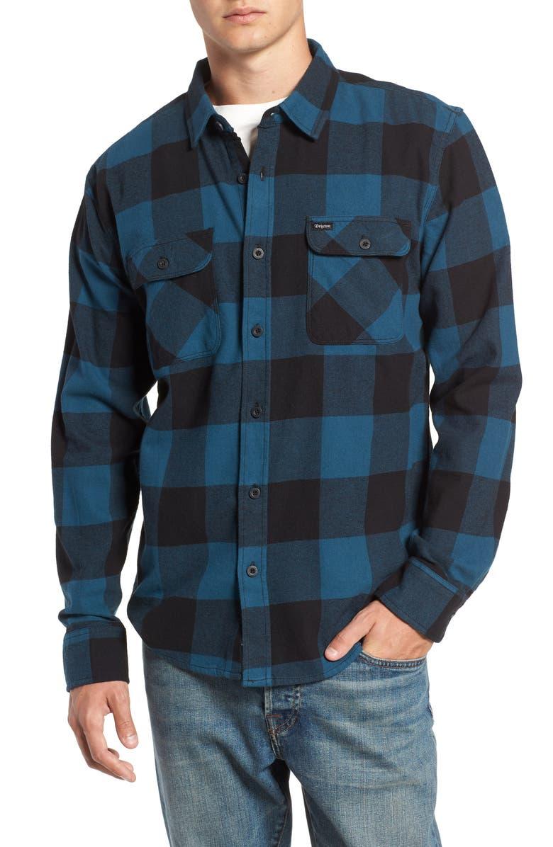 BRIXTON Bowery Buffalo Plaid Flannel Shirt, Main, color, 019