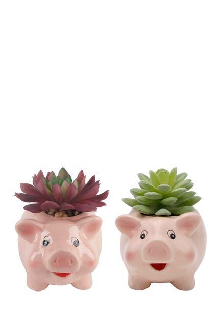 "Image of FLORA BUNDA Faux Succulent in 4.8"" Small Pink Pig  Ceramic Planter - Set of 2"