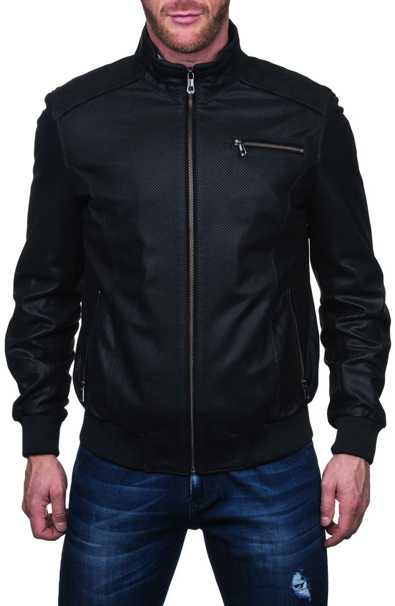 MACEOO Textured Leather Jacket, Main, color, BLACK